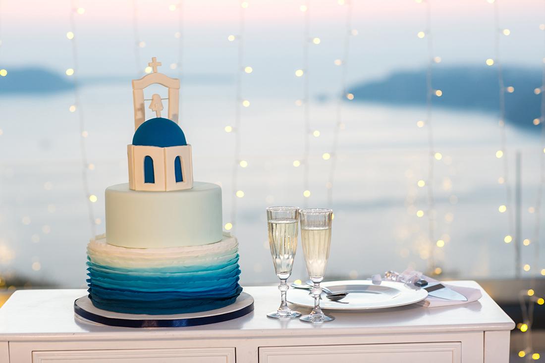 santorini wedding cake
