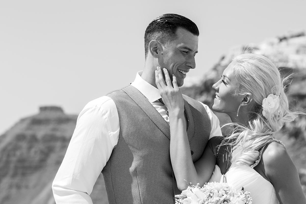 black and white wedding photos santorini